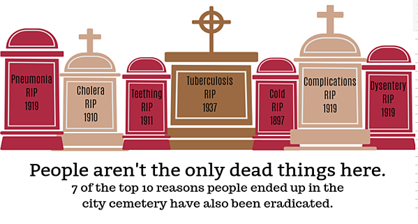 People aren't the only dead things here. 7 of the top 10 reasons people ended up in the city cemetery have also been eradicated. Pneumonia, Cholera, Teething, Tuberculosis, Cold, Complications, Dysentery