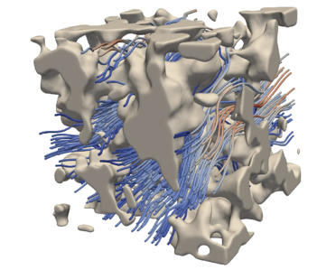One microstructure with a simulated fluid flow.